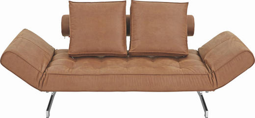 SCHLAFSOFA in Metall, Textil Braun - Chromfarben/Braun, Design, Textil/Metall (180-210/68/90cm) - Innovation
