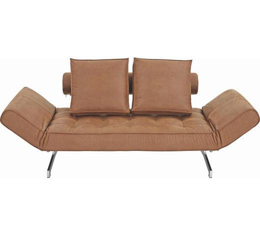 SCHLAFSOFA Lederlook Braun - Chromfarben/Braun, Design, Textil/Metall (180-210/68/90cm) - Innovation