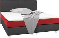 BOXSPRINGBETT 180 cm   x 200 cm   in Textil Rot, Schwarz - Rot/Alufarben, Design, Textil/Metall (180/200cm) - Hom`in