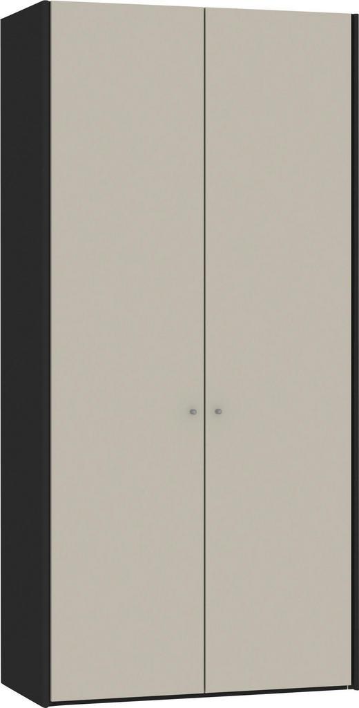 DREHTÜRENSCHRANK 2-türig Sandfarben, Schwarz - Sandfarben/Silberfarben, Design, Glas/Holzwerkstoff (104,5/220/58,5cm) - Jutzler