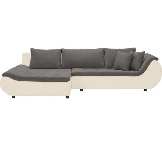 WOHNLANDSCHAFT in Textil Braun, Creme - Creme/Schwarz, Design, Kunststoff/Textil (185/310cm) - Carryhome