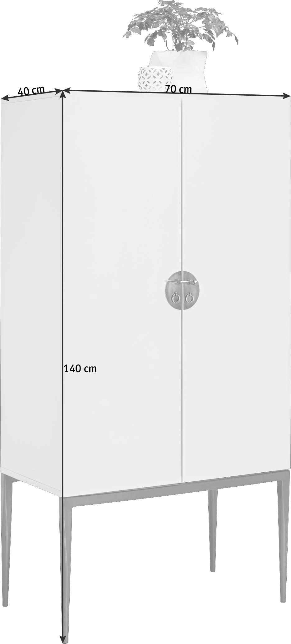 BRUDSKÅP - vit/bronsfärgad, Design, metall/träbaserade material (70/140/40cm) - Carryhome