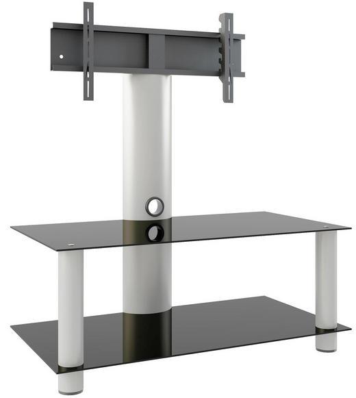 PHONOTISCH Glas, Metall Schwarz, Silberfarben - Silberfarben/Schwarz, KONVENTIONELL, Glas/Kunststoff (112/90/40cm)