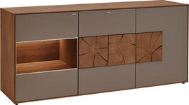 SIDEBOARD in massiv Kerneiche Fango - Fango, Design, Glas/Holz (175/80,5/49cm) - Valnatura