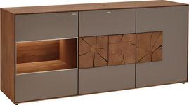 SIDEBOARD IN KERNEICHE Kerneiche massiv gebürstet, gewachst, lackiert, matt Fango - Fango, Design, Glas/Holz (175/80,5/49cm) - Valnatura