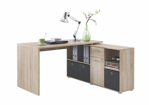 ECKSCHREIBTISCH Eichefarben - Eichefarben/Alufarben, Design, Holzwerkstoff/Kunststoff (136/75/137cm) - Carryhome