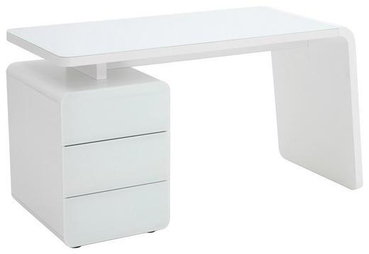 COMPUTERTISCH Weiß - Weiß, Design, Glas/Holzwerkstoff (132/75/60cm)
