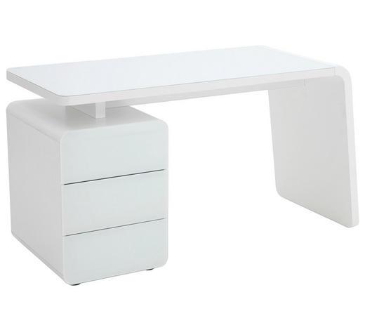 PC STŮL, bílá - bílá, Design, kompozitní dřevo/sklo (132/75/60cm)