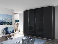 Schwebetürenschrank mit Glas 271cm Bensheim, Graphit Dekor - Graphitfarben/Grau, MODERN, Holzwerkstoff (271/230/62cm) - James Wood