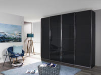 Schwebetürenschrank mit Glas 361cm Bensheim, Graphit Dekor - Graphitfarben/Grau, MODERN, Holzwerkstoff (361/211/62cm) - James Wood