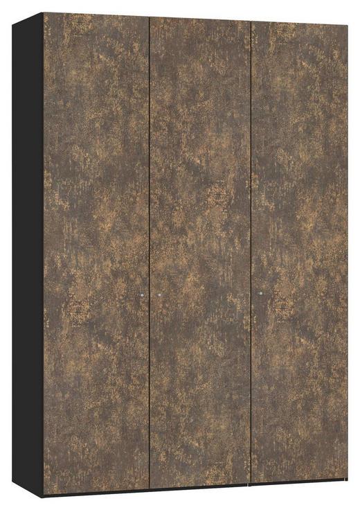 DREHTÜRENSCHRANK 3-türig Bronzefarben, Schwarz - Silberfarben/Schwarz, Design, Holzwerkstoff/Metall (152,2/220/58,5cm) - Jutzler