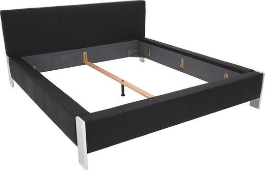 POLSTERBETT 180/200 cm  in Schwarz - Alufarben/Schwarz, Design, Leder/Metall (180/200cm) - Joop!