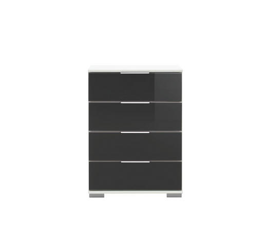NACHTKÄSTCHEN in Schwarz, Weiß  - Chromfarben/Alufarben, Design, Glas/Holzwerkstoff (52/74/38cm) - Carryhome