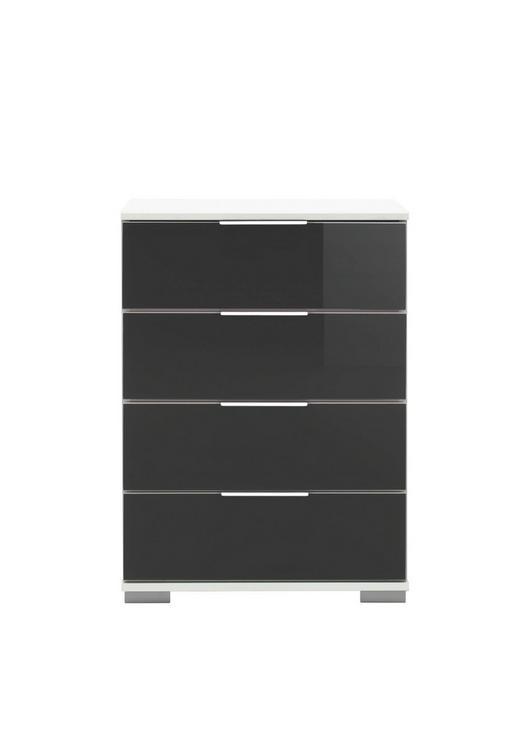 NACHTKÄSTCHEN Schwarz, Weiß - Chromfarben/Schwarz, Design, Glas/Kunststoff (52/74/38cm) - CARRYHOME
