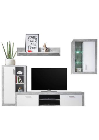 REGAL - bijela/siva, Design, staklo/drvni materijal (280/195/40cm) - Ti`me