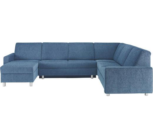 WOHNLANDSCHAFT in Textil Blau - Blau/Alufarben, KONVENTIONELL, Kunststoff/Textil (158/323/252cm) - Sedda