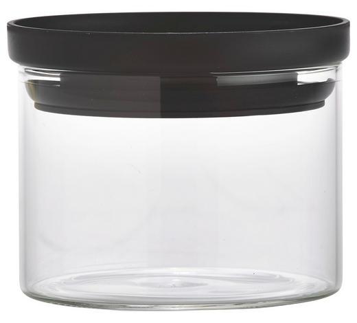 VORRATSDOSE  0,4 L - Klar/Schwarz, Basics, Glas/Kunststoff (9,5/7cm) - Homeware