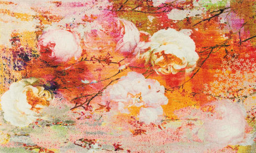 FUßMATTE 70/120 cm Floral Multicolor, Orange - Multicolor/Orange, Basics, Kunststoff/Textil (70/120cm) - Esposa