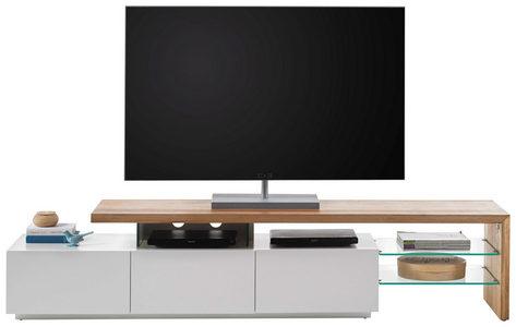 MEDIABÄNK - vit/ekfärgad, Design, trä/glas (204/44/40cm) - Xora