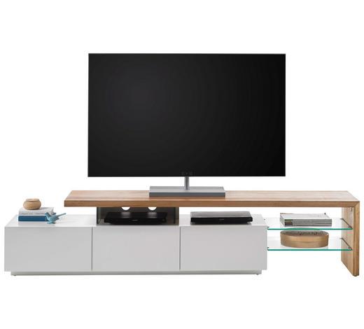 KOMODA LOWBOARD, bílá, barvy dubu - bílá/barvy dubu, Design, dřevo/kompozitní dřevo (204/44/40cm) - Xora