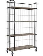 REGAL Altholz massiv Braun, Silberfarben  - Silberfarben/Braun, Trend, Holz/Metall (94/158,5/41cm) - Carryhome