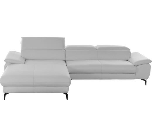 WOHNLANDSCHAFT in Leder Weiß  - Weiß, Design, Leder (195/297cm) - Chilliano