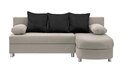 WOHNLANDSCHAFT in Textil Schwarz, Beige - Beige/Alufarben, KONVENTIONELL, Kunststoff/Textil (195/153cm) - Carryhome