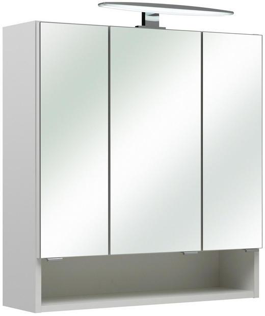 SPIEGELSCHRANK Weiß - Chromfarben/Weiß, KONVENTIONELL, Glas/Holzwerkstoff (65/70/18cm) - Xora