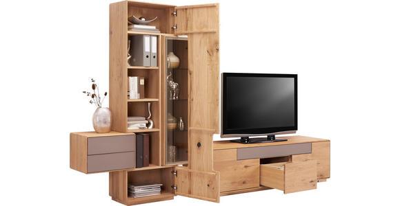 WOHNWAND Wildeiche massiv Eichefarben, Schlammfarben - Schlammfarben/Eichefarben, Design, Glas/Holz (303,6/198,5/46,5cm) - Valnatura