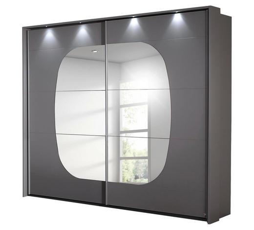 SCHWEBETÜRENSCHRANK in Grau, Hellgrau - Hellgrau/Grau, MODERN, Glas/Holzwerkstoff (233/214/62cm) - Carryhome