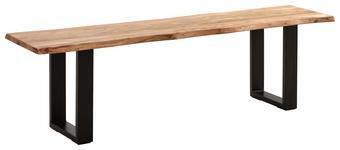 SITZBANK in Holz, Metall Schwarz, Akaziefarben  - Schwarz/Akaziefarben, ROMANTIK / LANDHAUS, Holz/Metall (180/45/42cm) - Carryhome