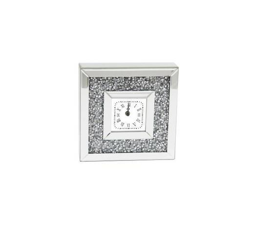TISCHUHR - Transparent/Silberfarben, Design, Glas/Holzwerkstoff (25,5/25,5/6,5cm) - Ambia Home