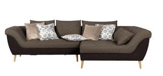 WOHNLANDSCHAFT in Textil Braun, Dunkelbraun  - Dunkelbraun/Naturfarben, Design, Holz/Textil (313/175cm) - Carryhome