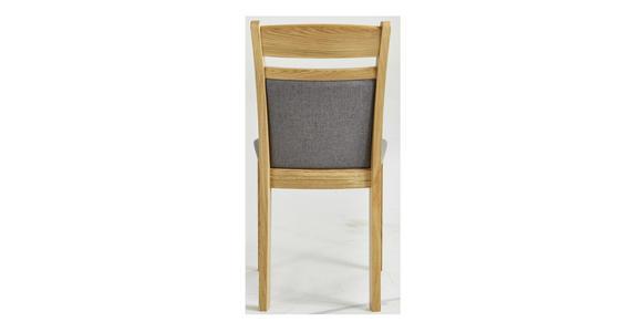 STUHL Flachgewebe Eiche vollmassiv Eichefarben, Dunkelgrau  - Eichefarben/Dunkelgrau, KONVENTIONELL, Holz/Textil (44,5/88/54cm) - Venda