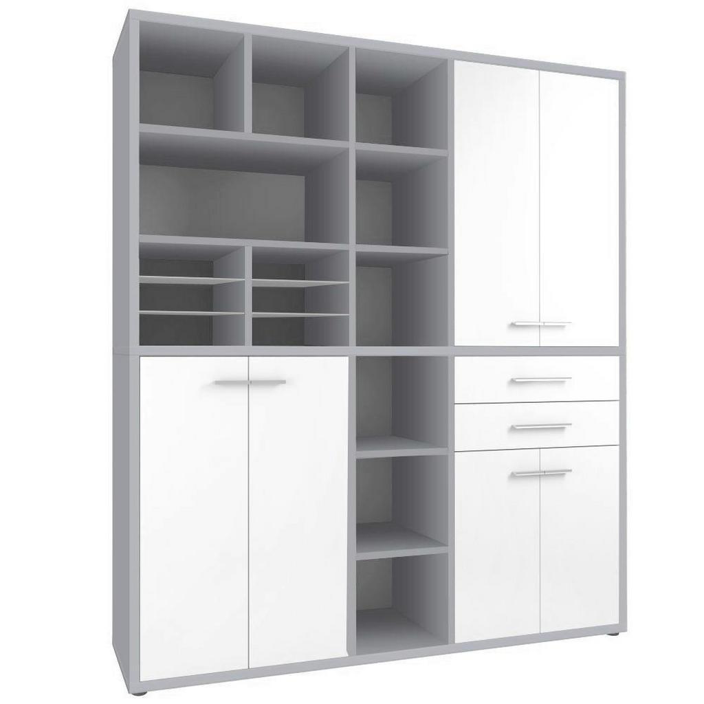 Regalkombination In Grau, Weiß