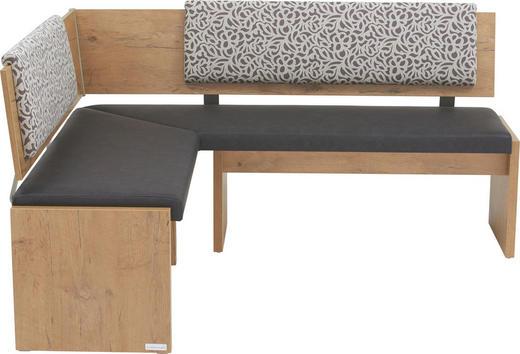 ECKBANK in Holzwerkstoff, Metall, Textil Anthrazit, Beige, Eichefarben - Eichefarben/Anthrazit, KONVENTIONELL, Holzwerkstoff/Textil (150/170cm) - Venda