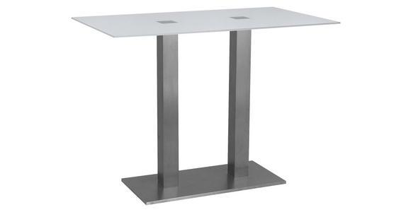 BARTISCH in Metall, Glas 120/70/105 cm   - Edelstahlfarben/Weiß, Design, Glas/Metall (120/70/105cm) - Dieter Knoll
