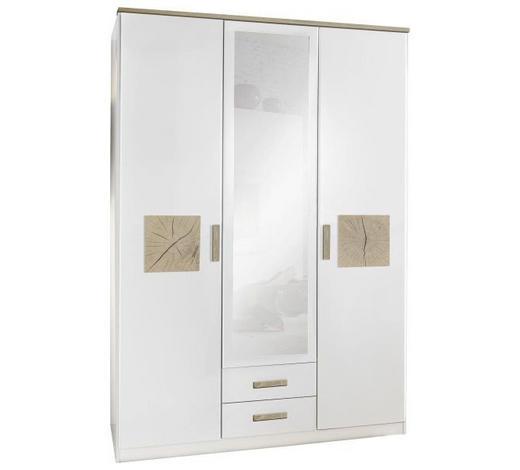 SKŘÍŇ, bílá, barvy dubu - bílá/barvy dubu, Konvenční, kompozitní dřevo (135/199/58cm) - Stylife