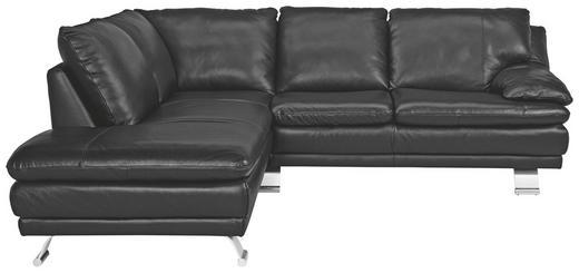 SOFFA - alufärgad/svart, Design, metall/läder (220/246cm) - CELINA HOME