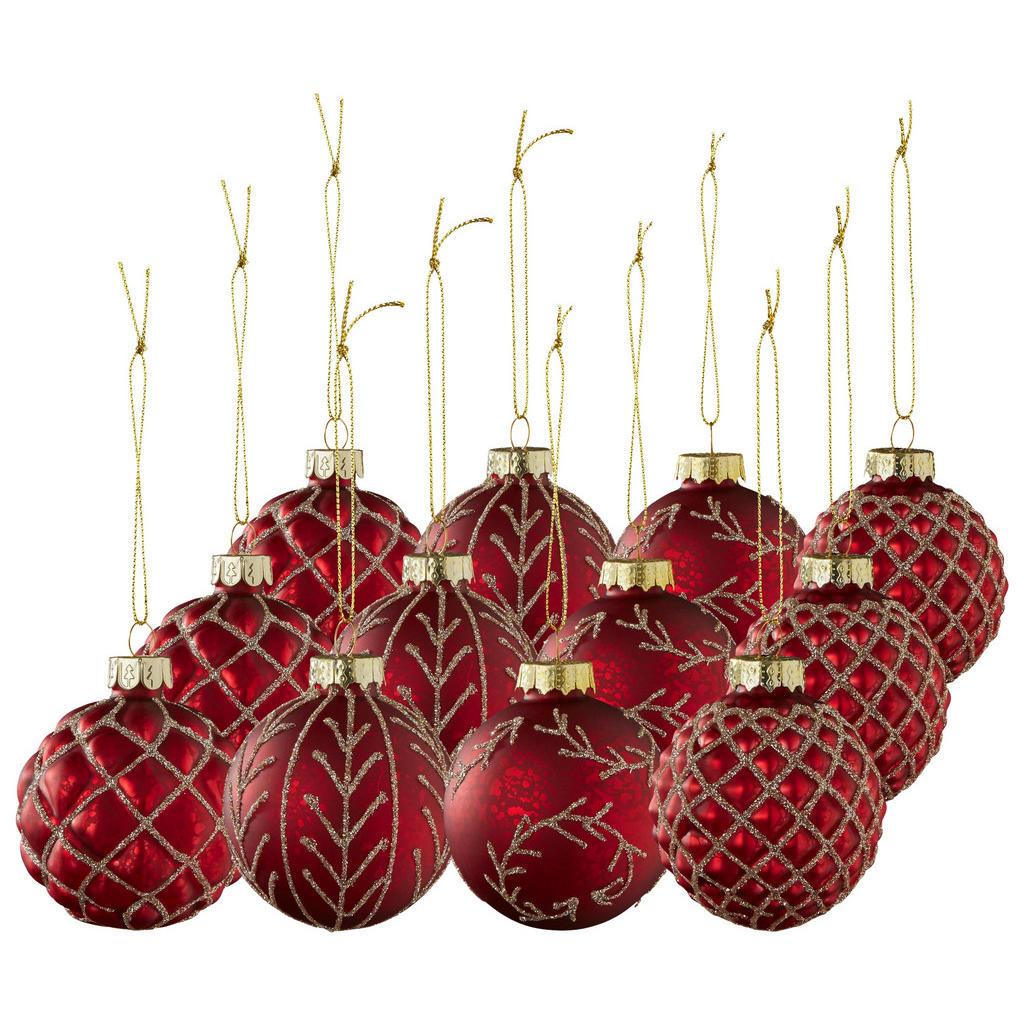 Rote Weihnachtskugeln mit Goldverzierung