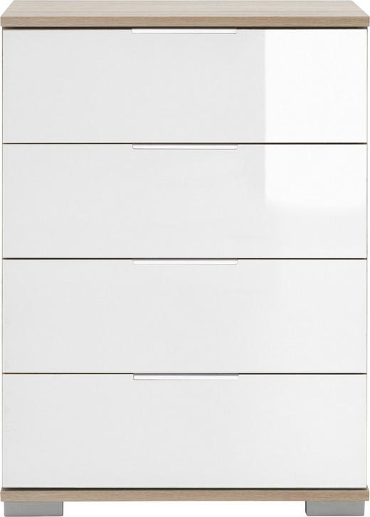 NACHTKÄSTCHEN in Weiß, Eichefarben - Eichefarben/Alufarben, Design, Glas/Holzwerkstoff (52 74 38cm) - Carryhome