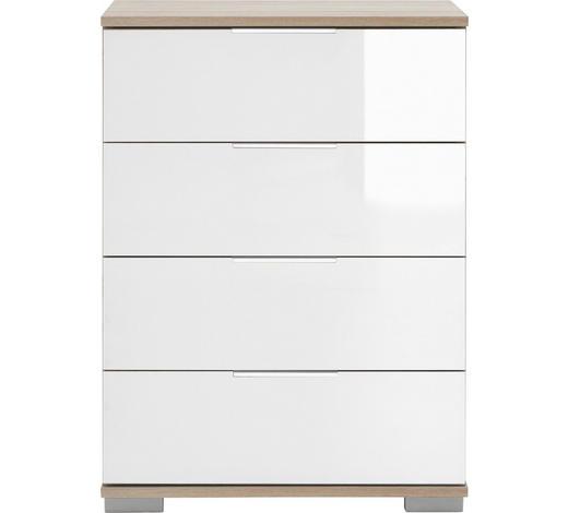 NACHTKÄSTCHEN in Weiß, Eichefarben - Eichefarben/Alufarben, Design, Glas/Holzwerkstoff (52/74/38cm) - Carryhome