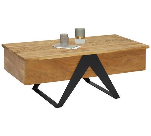 COUCHTISCH in Holz, Metall 115/60/45 cm - Schwarz/Akaziefarben, MODERN, Holz/Metall (115/60/45cm) - Landscape