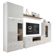 OBÝVACÍ STĚNA, bílá, barvy dubu - bílá/barvy stříbra, Moderní, kompozitní dřevo/umělá hmota (340cm) - Hom`in