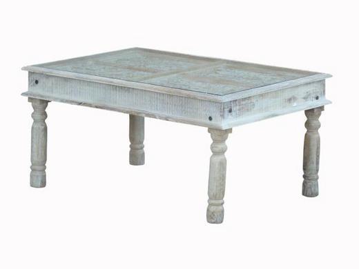 COUCHTISCH Mangoholz massiv rechteckig Weiß - Weiß, Trend, Glas/Holz (105/70/50cm) - Ambia Home