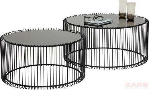 BEISTELLTISCHSET rund Schwarz - Schwarz, Design, Glas/Metall (70/34/70cm) - Kare-Design