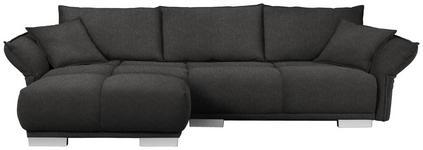 WOHNLANDSCHAFT in Textil Braun, Grau - Chromfarben/Braun, MODERN, Kunststoff/Textil (203/310cm) - Hom`in