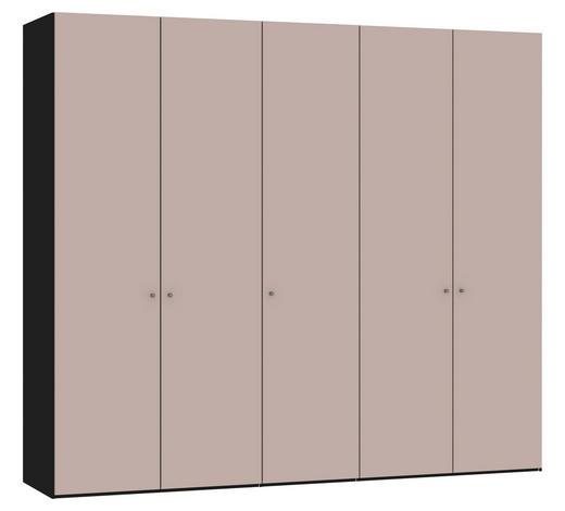 DREHTÜRENSCHRANK in Rosa, Schwarz - Silberfarben/Schwarz, Design, Glas/Holzwerkstoff (252,8/220/58,5cm) - Jutzler