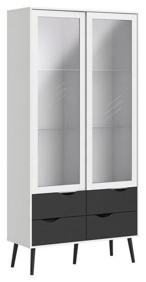 VITRINSKÅP - vit/svart, Design, glas/trä (98,7/200,1/39,1cm) - Hom`in