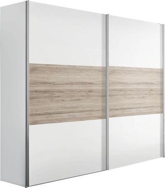 SKJUTDÖRRSGARDEROB - vit/alufärgad, Design, metall/träbaserade material (250/236/68cm) - CARRYHOME